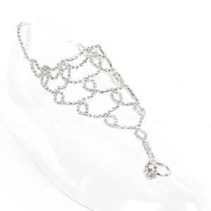 Jewelry - Rhinestone Chain Anklet With Connected Toe Ring